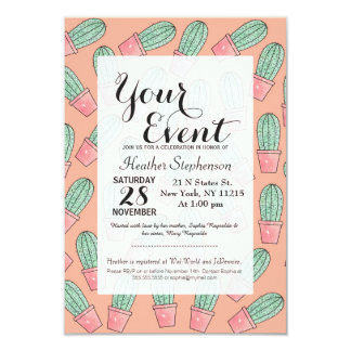 Cute Baby Faux Sparkly Cactus on Coral Pink 9 Cm X 13 Cm Invitation Card