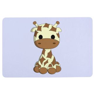 Cute baby giraffe cartoon floor mat