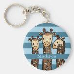 Cute Baby Giraffe Trio, Add Child's Name Basic Round Button Key Ring