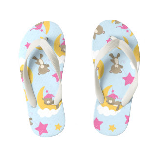 Cute Baby Girl Bear Pattern Print Kid's Jandals
