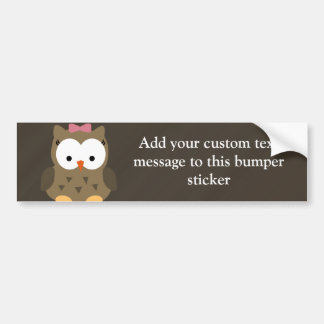 Cute Baby Girl Owl with Pink Bow Bumper Stickers