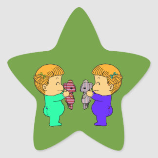 Cute baby Girl twins Star Sticker