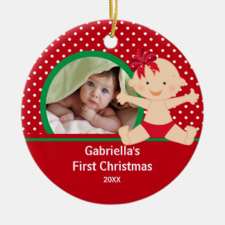 Cute Baby Girls First Christmas Photo Ornament