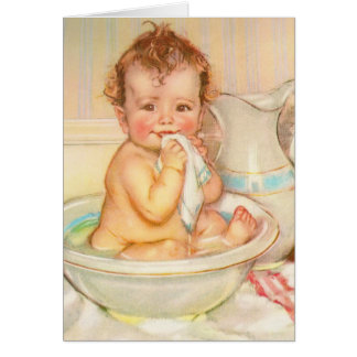 Cute Baby Having a Bath Card