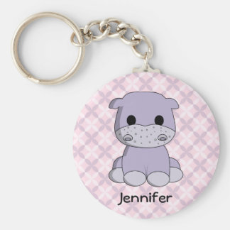 Cute baby hippo cartoon name girl keychain