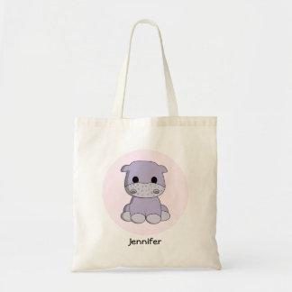 Cute baby hippo cartoon name tote