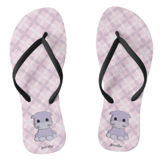 Cute baby hippo cartoon name women's flip flops