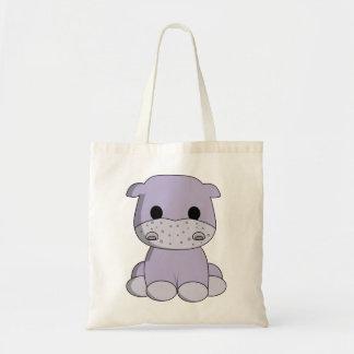 Cute baby hippo cartoon tote bag