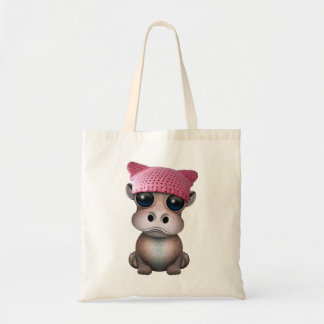 Cute Baby Hippo Wearing Pussy Hat Tote Bag