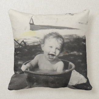 Cute baby in a bath - Black&White Throw Pillow