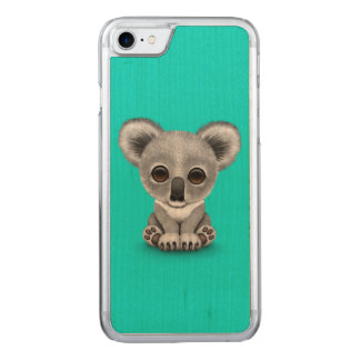 Cute Baby Koala Bear Cub on Blue Carved iPhone 8/7 Case