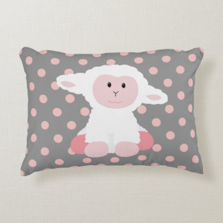 Cute Baby Lamb and Polka Dots Accent Pillow