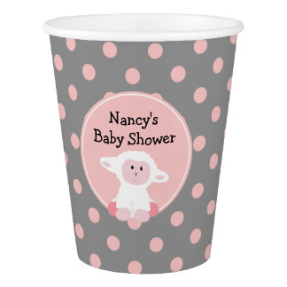 Cute Baby Lamb with Polka Dots Baby Shower Paper Cup