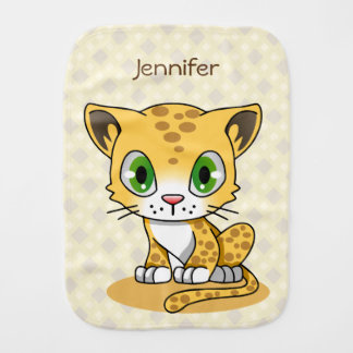 Cute baby leopard cartoon name baby burp cloth