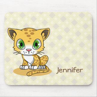 Cute baby leopard cat cartoon name mousepad