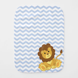Cute Baby Lion Blue Chevron Burp Cloth