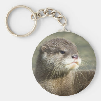 Cute Baby Otter Basic Round Button Key Ring