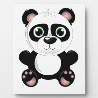 Cute baby panda animation cartoon illustration plaque