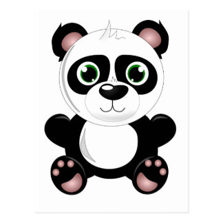 Cute baby panda animation cartoon illustration postcard