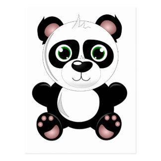 Cute baby panda animation cartoon illustration postcard