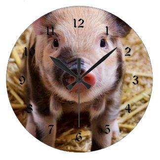 Cute Baby Piglet Farm Animals Barnyard Babies Large Clock