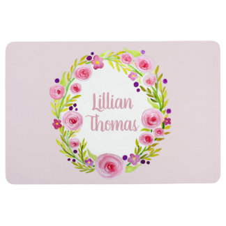 Cute Baby Pink Watercolor Flower Wreath with Name Floor Mat