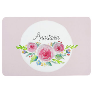 Cute Baby Pink Watercolor Flowers with Name Floor Mat