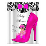 Cute Baby Shower Girl Hot Pink Baby Shoe Invite