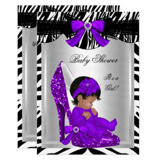 Cute Baby Shower Girl Zebra Purple Baby Shoe 2 Card