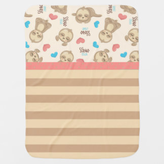 Cute Baby Sloth with Beige Stripes & Pink Hearts Baby Blanket