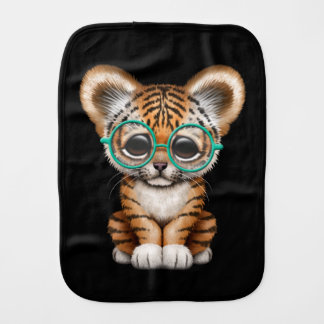 Cute Baby Tiger Cub Wearing Glasses on Black Burp Cloth