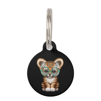 Cute Baby Tiger Cub Wearing Glasses on Black Pet ID Tags