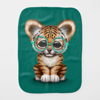 Cute Baby Tiger Cub Wearing Glasses on Teal Blue Burp Cloth