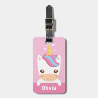 Cute Baby Unicorn Girls Personalised Luggage Tag