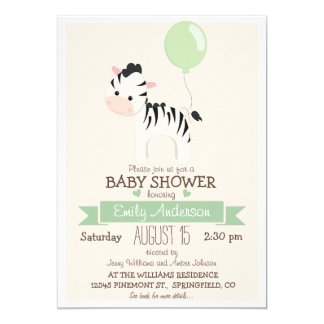 Cute Baby Zebra, Jungle Zoo Animal Baby Shower 5x7 Paper Invitation Card