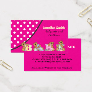 Babysitter business card gallery business card template babysitters business cards oylekalakaari babysitters business cards colourmoves colourmoves