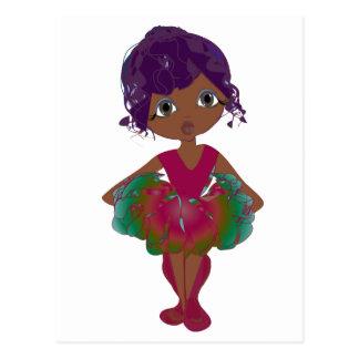 Cute Ballerina in Pink and Green Tutu Art Postcard