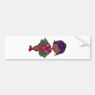 Cute Ballerina in Red and Green Tutu Art Bumper Sticker