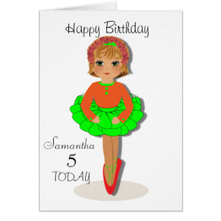 Cute Ballerina Personalised Birthday Card