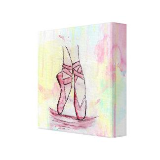 Cute Ballet shoes sketch Watercolor hand drawn Canvas Print