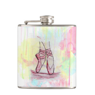 Cute Ballet shoes sketch Watercolor hand drawn Hip Flask