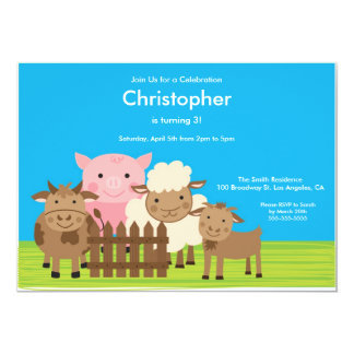 Cute Barn Yard Farm Animals Birthday Party Invite