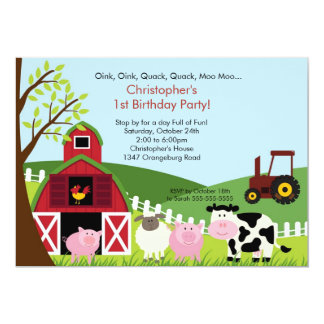 Cute Barnyard Animal Fun Birthday Party Card