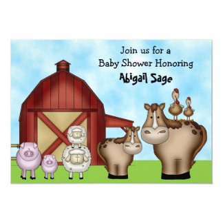 Cute Barnyard Farm Animal Baby Shower Invitations