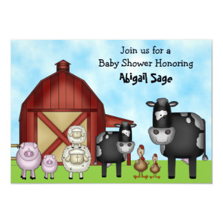 "Cute Barnyard Farm Animal Baby Shower Invitations 5"" X 7"" Invitation Card"