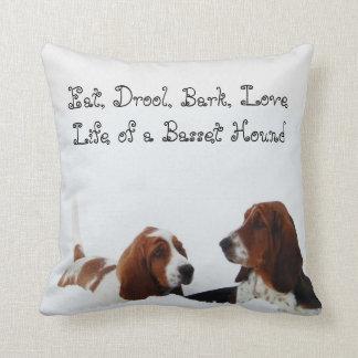"""Cute Basset Hound Pillow """"Eat, Drool, Bark, Love"""""""