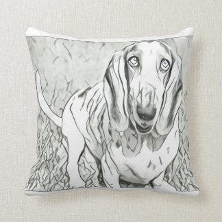 Cute Basset Hound Throw Pillow
