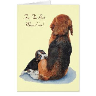 cute beagle puppy & mum dog versed greeting card