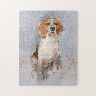Cute Beagle Watercolor Portrait Jigsaw Puzzle