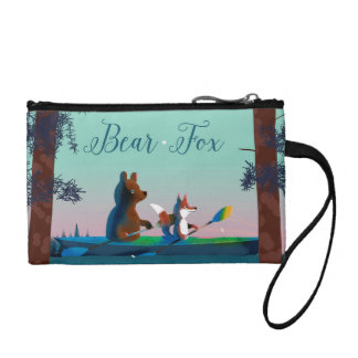 Cute Bear and Fox kayaking on a wild forest river Coin Purse